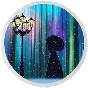 Winter Walk In The Magical Forest Round Beach Towel