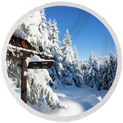 winter way in the Upper Harz Round Beach Towel