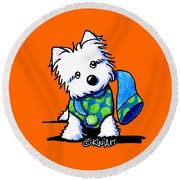 Winter Westie With Lime Round Beach Towel