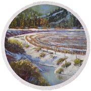 Winter Wheat Round Beach Towel