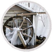 Winter Wheel Round Beach Towel