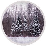 Winter White Magic Round Beach Towel