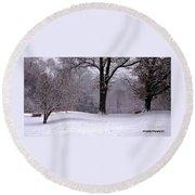Winter White  Round Beach Towel