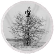Winter Windmill Round Beach Towel