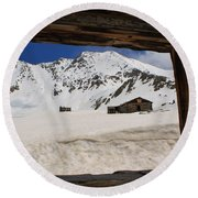 Winter Window View Round Beach Towel