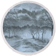 Winter With My Lover Round Beach Towel
