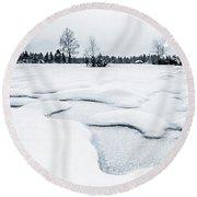 Winter Wonderland Bw Round Beach Towel