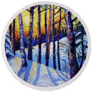 Winter Woodland Sunset Modern Impressionism Palette Knife Oil Painting Round Beach Towel