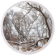 Winter Woods On A Stormy Day 2 Round Beach Towel