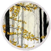 Winter Woods Round Beach Towel