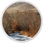 Winter Yakima River With Hills And Orchard Round Beach Towel