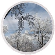 Winter's Arrival Round Beach Towel