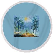 Winter's Fog Round Beach Towel