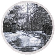 Winter's Gates Round Beach Towel