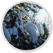 Winter's Light Round Beach Towel