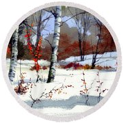 Wintertime Painting Round Beach Towel