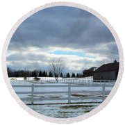 Wintery Day Round Beach Towel