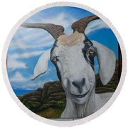 Wip 2- Goats Of St. Martin Round Beach Towel