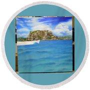 Wip- Creole Rock 02 Round Beach Towel