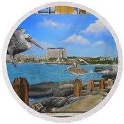 Wip-pelican 08 Round Beach Towel
