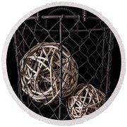 Wire Basket And Balls Still Life Round Beach Towel