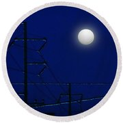 Wired Moon Round Beach Towel