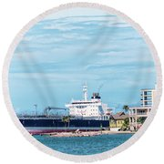 Wisby Atlantic - Incoming Ship Round Beach Towel