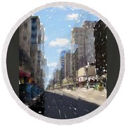 Wisconsin Ave Cubist Round Beach Towel