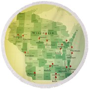 Wisconsin Map Square Cities Straight Pin Vintage Round Beach Towel