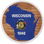 Wisconsin Rustic Map On Wood Round Beach Towel