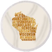 Wisconsin State Outline Word Map Round Beach Towel