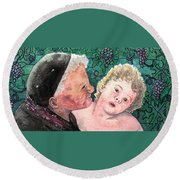 Wisdom And Innocence Round Beach Towel