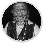 Wisdom Monochrome Round Beach Towel
