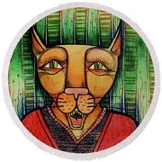 Wise Cat Round Beach Towel