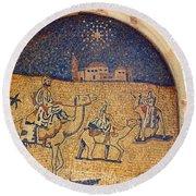 Wise Men Reaching Beit Sahour Round Beach Towel