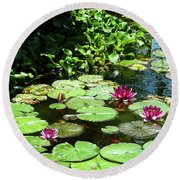 Wishes Among The Water Lilies Round Beach Towel