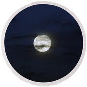 Wisps And A Full Moon Round Beach Towel