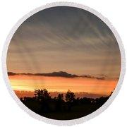 Wispy Clouds At Sunset Round Beach Towel