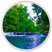 Wissahickon Waterfall Round Beach Towel by Bill Cannon