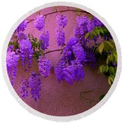 Wisteria At Sunset Round Beach Towel