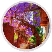 Wisteria Canopy In Bisbee Arizona Round Beach Towel