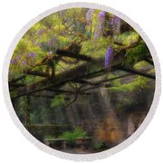 Wisteria Flowers Blooming On Trellis Over Water Fountain Round Beach Towel