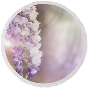 Wisteria Flowers In Sunlight Round Beach Towel