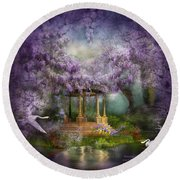 Wisteria Lake Round Beach Towel by Carol Cavalaris