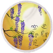 Wisteria With Heart Sutra Round Beach Towel