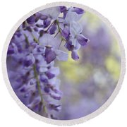Wisteria's Soft Floral Whispers Round Beach Towel