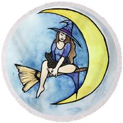 Witch And Moon Round Beach Towel