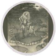 Witch Woman Round Beach Towel