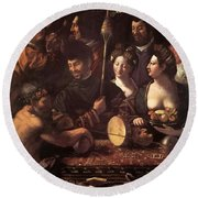 Witchcraft Allegory Of Hercules 1535 Round Beach Towel