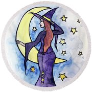 Witchy Moon Round Beach Towel